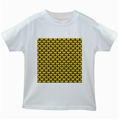 Scales3 Black Marble & Yellow Colored Pencil Kids White T Shirts