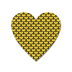 Scales3 Black Marble & Yellow Colored Pencil Heart Magnet
