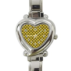 Scales3 Black Marble & Yellow Colored Pencil Heart Italian Charm Watch