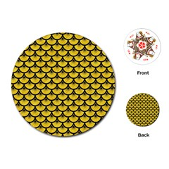 Scales3 Black Marble & Yellow Colored Pencil Playing Cards (round)