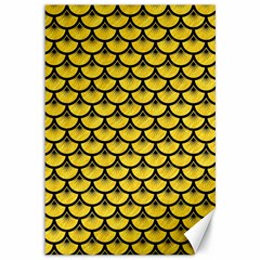 Scales3 Black Marble & Yellow Colored Pencil Canvas 12  X 18