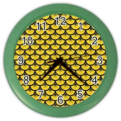 Scales3 Black Marble & Yellow Colored Pencil Color Wall Clocks