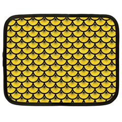 Scales3 Black Marble & Yellow Colored Pencil Netbook Case (large)