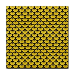 Scales3 Black Marble & Yellow Colored Pencil Face Towel