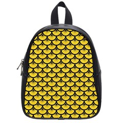 Scales3 Black Marble & Yellow Colored Pencil School Bag (small)