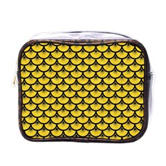 Scales3 Black Marble & Yellow Colored Pencil Mini Toiletries Bags