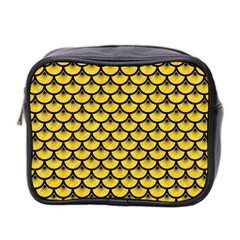 Scales3 Black Marble & Yellow Colored Pencil Mini Toiletries Bag 2 Side