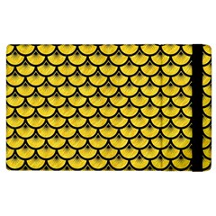Scales3 Black Marble & Yellow Colored Pencil Apple Ipad 3/4 Flip Case