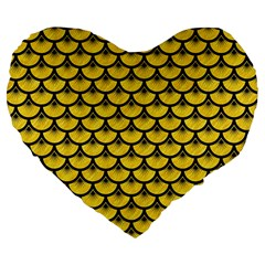 Scales3 Black Marble & Yellow Colored Pencil Large 19  Premium Heart Shape Cushions