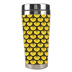 Scales3 Black Marble & Yellow Colored Pencil Stainless Steel Travel Tumblers