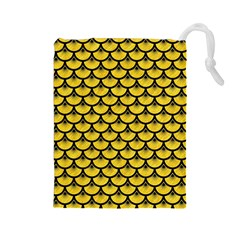 Scales3 Black Marble & Yellow Colored Pencil Drawstring Pouches (large)