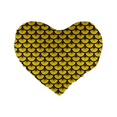 Scales3 Black Marble & Yellow Colored Pencil Standard 16  Premium Flano Heart Shape Cushions
