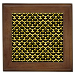 Scales3 Black Marble & Yellow Colored Pencil (r) Framed Tiles