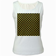 Scales3 Black Marble & Yellow Colored Pencil (r) Women s White Tank Top