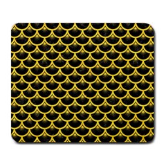 Scales3 Black Marble & Yellow Colored Pencil (r) Large Mousepads