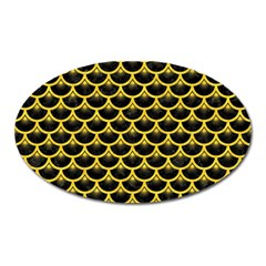 Scales3 Black Marble & Yellow Colored Pencil (r) Oval Magnet