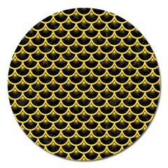 Scales3 Black Marble & Yellow Colored Pencil (r) Magnet 5  (round)