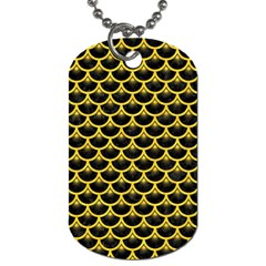 Scales3 Black Marble & Yellow Colored Pencil (r) Dog Tag (two Sides)