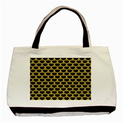 Scales3 Black Marble & Yellow Colored Pencil (r) Basic Tote Bag