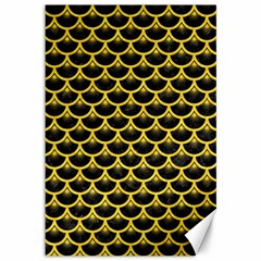Scales3 Black Marble & Yellow Colored Pencil (r) Canvas 12  X 18