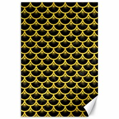 Scales3 Black Marble & Yellow Colored Pencil (r) Canvas 24  X 36
