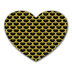 Scales3 Black Marble & Yellow Colored Pencil (r) Heart Mousepads