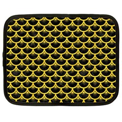 Scales3 Black Marble & Yellow Colored Pencil (r) Netbook Case (large)