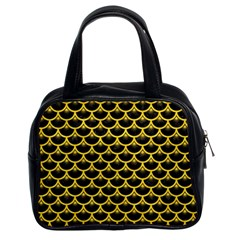 Scales3 Black Marble & Yellow Colored Pencil (r) Classic Handbags (2 Sides)