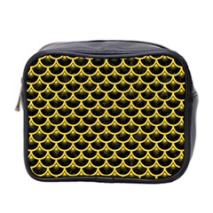 Scales3 Black Marble & Yellow Colored Pencil (r) Mini Toiletries Bag 2 Side