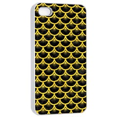 Scales3 Black Marble & Yellow Colored Pencil (r) Apple Iphone 4/4s Seamless Case (white)