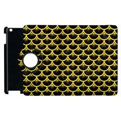 Scales3 Black Marble & Yellow Colored Pencil (r) Apple Ipad 3/4 Flip 360 Case
