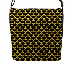 Scales3 Black Marble & Yellow Colored Pencil (r) Flap Messenger Bag (l)