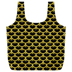 Scales3 Black Marble & Yellow Colored Pencil (r) Full Print Recycle Bags (l)