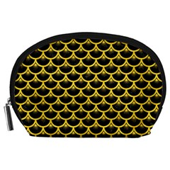 Scales3 Black Marble & Yellow Colored Pencil (r) Accessory Pouches (large)