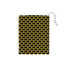 Scales3 Black Marble & Yellow Colored Pencil (r) Drawstring Pouches (small)