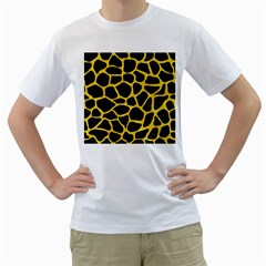 Skin1 Black Marble & Yellow Colored Pencil Men s T Shirt (white) (two Sided)