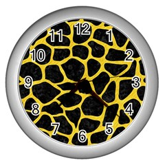 Skin1 Black Marble & Yellow Colored Pencil Wall Clocks (silver)