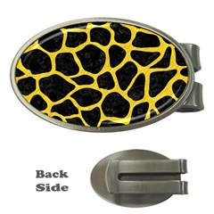 Skin1 Black Marble & Yellow Colored Pencil Money Clips (oval)
