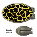 SKIN1 BLACK MARBLE & YELLOW COLORED PENCIL Money Clips (Oval)  Front