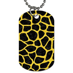 Skin1 Black Marble & Yellow Colored Pencil Dog Tag (one Side)