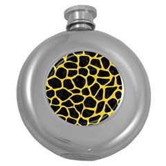 Skin1 Black Marble & Yellow Colored Pencil Round Hip Flask (5 Oz)