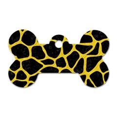 Skin1 Black Marble & Yellow Colored Pencil Dog Tag Bone (two Sides)