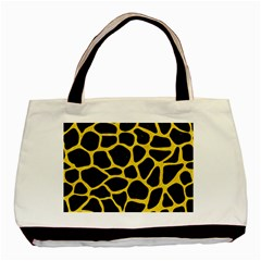 Skin1 Black Marble & Yellow Colored Pencil Basic Tote Bag (two Sides)