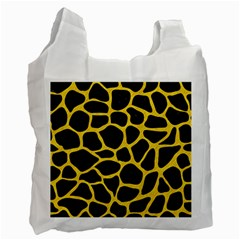 Skin1 Black Marble & Yellow Colored Pencil Recycle Bag (one Side)