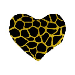 Skin1 Black Marble & Yellow Colored Pencil Standard 16  Premium Heart Shape Cushions