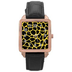 Skin1 Black Marble & Yellow Colored Pencil Rose Gold Leather Watch