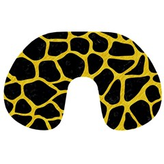 Skin1 Black Marble & Yellow Colored Pencil Travel Neck Pillows