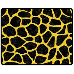 Skin1 Black Marble & Yellow Colored Pencil Double Sided Fleece Blanket (medium)
