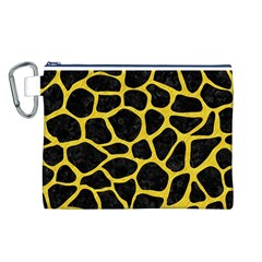 Skin1 Black Marble & Yellow Colored Pencil Canvas Cosmetic Bag (l)