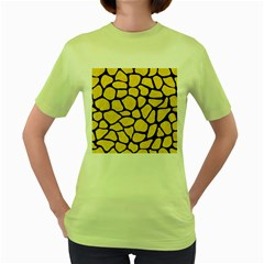 Skin1 Black Marble & Yellow Colored Pencil (r) Women s Green T Shirt